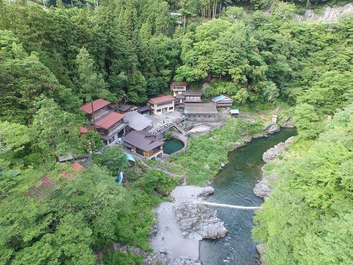 鳩ノ巣バンガローの上空写真