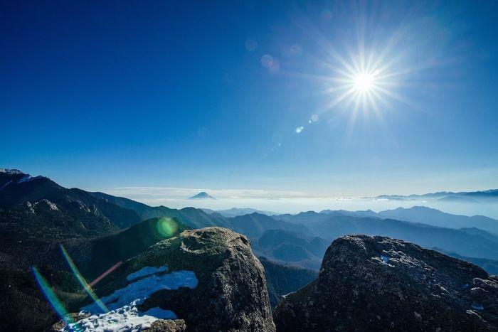 山頂から見る太陽の様子