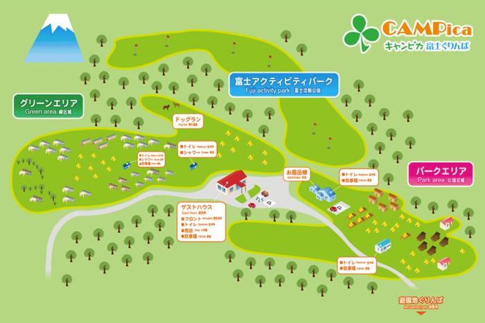 キャンピカ富士ぐりんぱの施設マップ