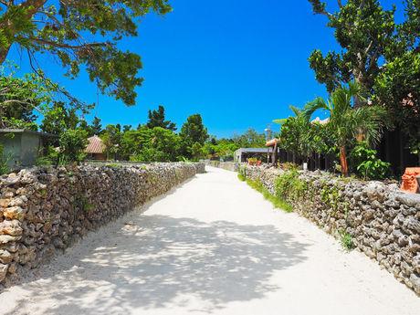 沖縄の砂浜通路の写真