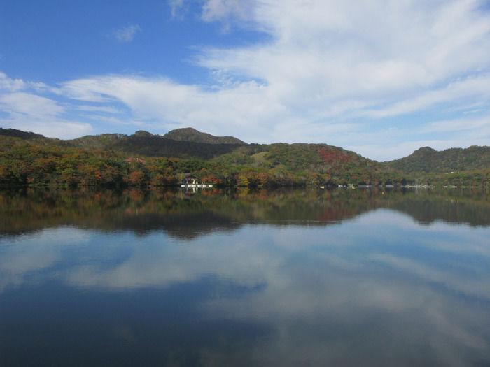 湖と紅葉しかけた森の写真