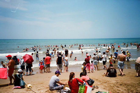 海水浴を楽しんでいる人たちの写真