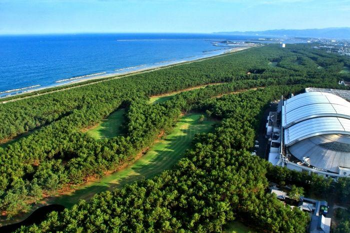 海の近くに綺麗な緑の自然が広がっている写真