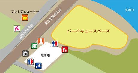 多摩川緑地バーベキュー広場のマップ画像