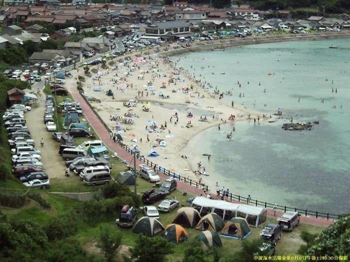 小波海水浴場とキャンプ場の上空写真