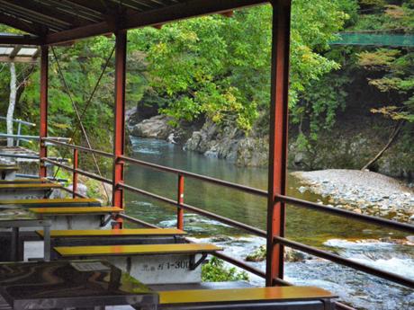 川沿いにあるバーベキューサイトの写真