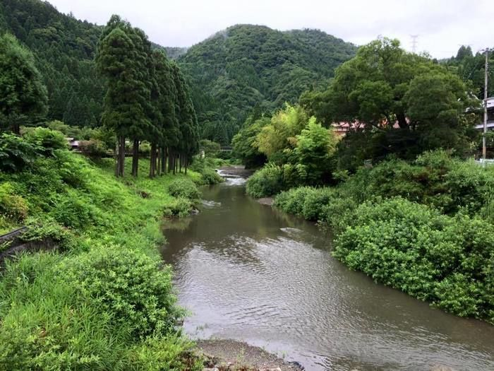 山に流れている川の写真