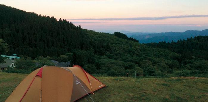 スノーピーク奥日田でのキャンプの様子