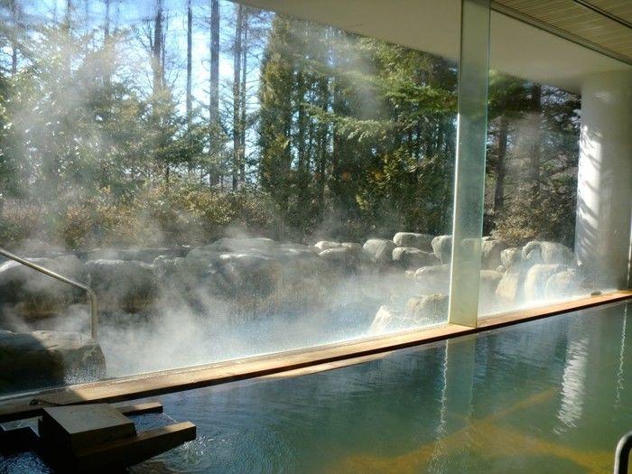 自然がガラス越しに見える温泉の写真