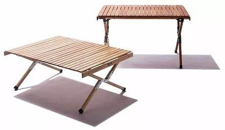 ロールアップ式ウッドテーブル