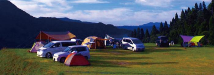 若杉公園おおやキャンプ場の森のテントサイト