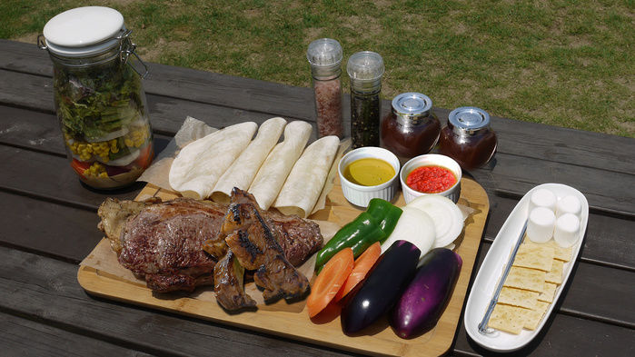 バーベキューで使う食材の写真