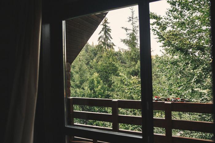 バンガローの窓越しの自然の写真