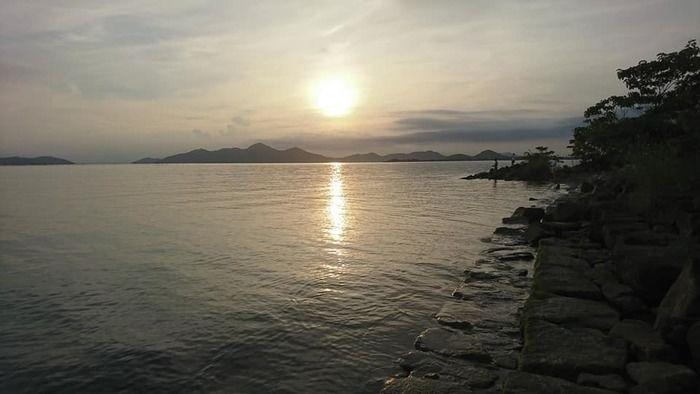 マイアミ浜オートキャンプ場から見た太陽の写真