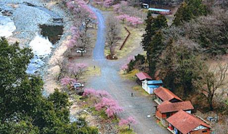 青野原オートキャンプ場の上空からの写真