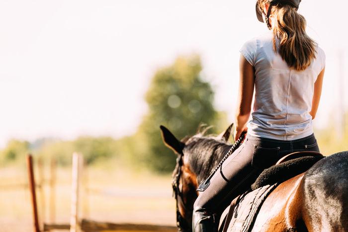 乗馬している女性の写真