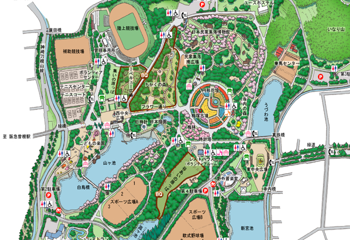 服部緑地のマップ