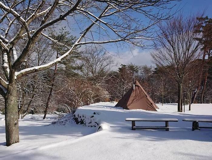 冬で雪が積もった自然の森ファミリーオートキャンプ場