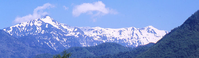 山頂に雪が積もった山の写真