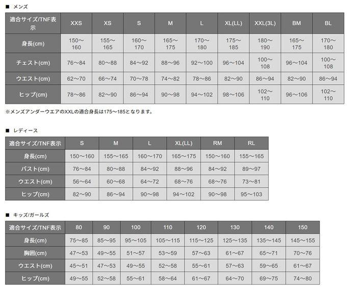 ノースフェイスのバルトロジャケットのサイズ表
