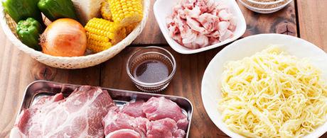 ワイルドクッキングガーデンのバーベキューの食材の写真