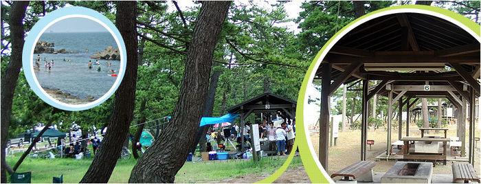 浜黒崎キャンプ場でのバーベキューの様子