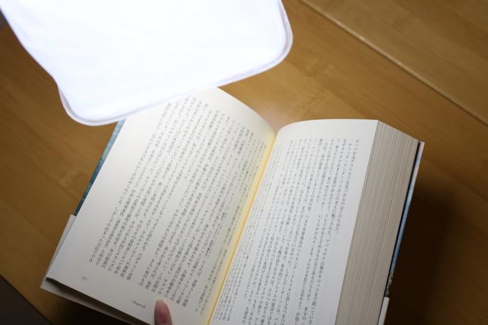 本をランタンで照らしている写真
