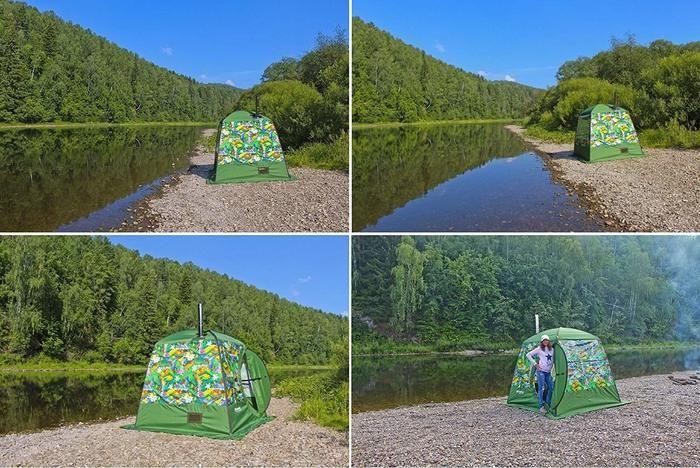 川の側のテントサウナ