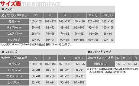 ザ・ノース・フェイスのサイズ表