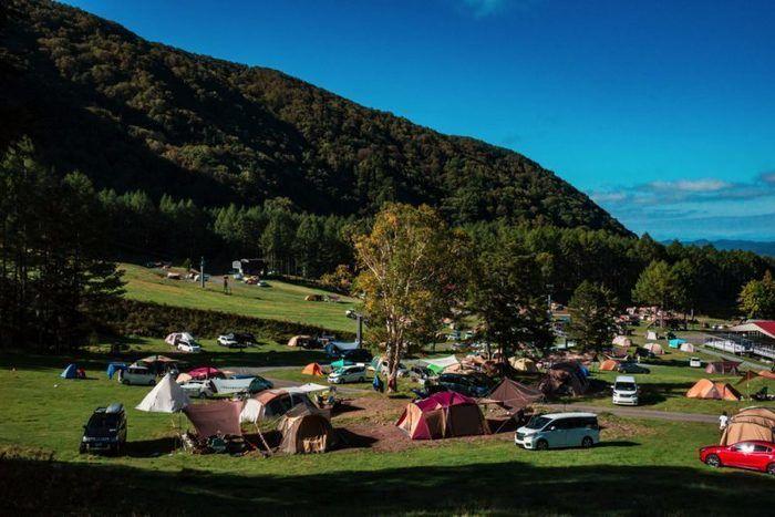 丸沼高原オートキャンプ場に並ぶテント