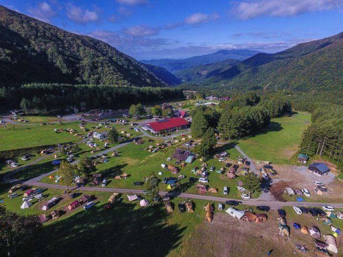 丸沼高原オートキャンプ場の上空からの風景