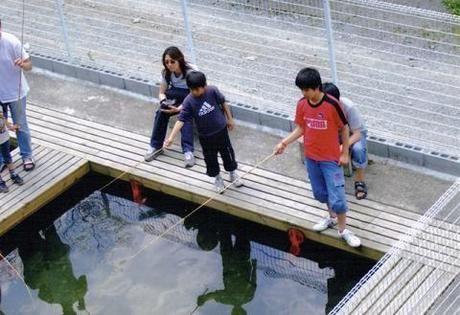 釣り堀で子供が遊んでいる写真