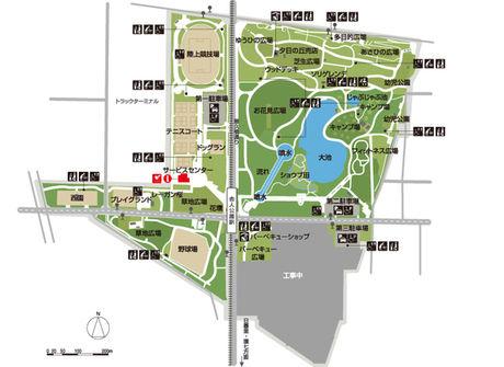 舎人公園の園内マップ