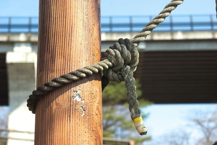 ロープが結ばれた様子