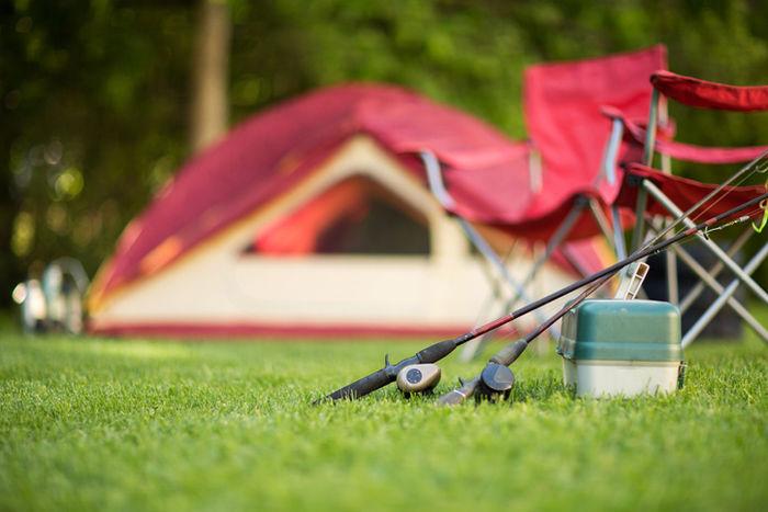 芝生の上に置いてあるクーラーボックス
