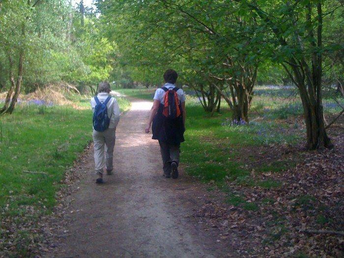 散歩をしている2人の写真