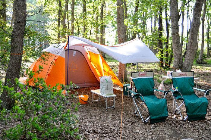 キャンプ場でテントが貼ってある写真