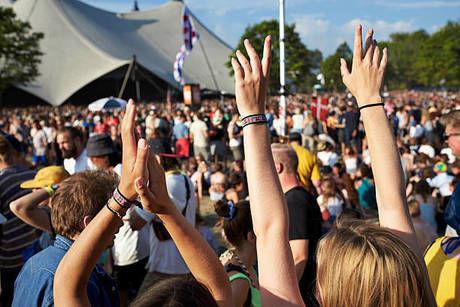 フェスで盛り上がっている人たちの写真