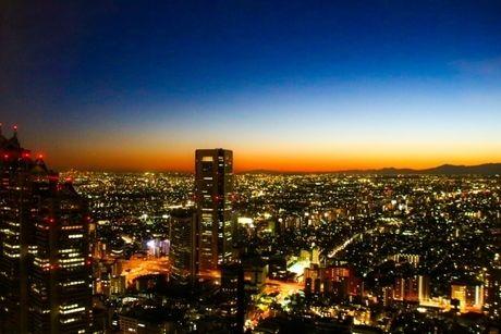 都会の夕焼けの写真
