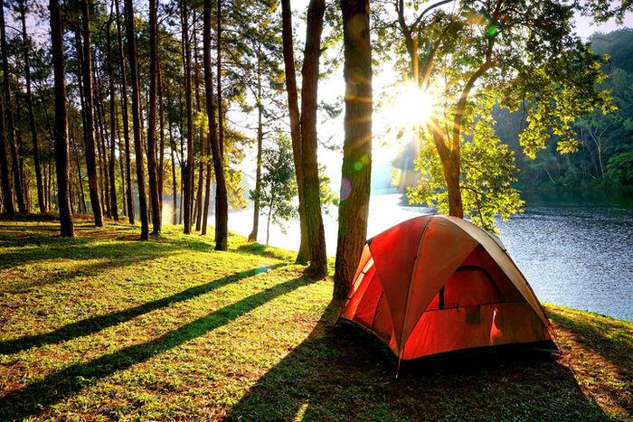 川沿いのキャンプテント