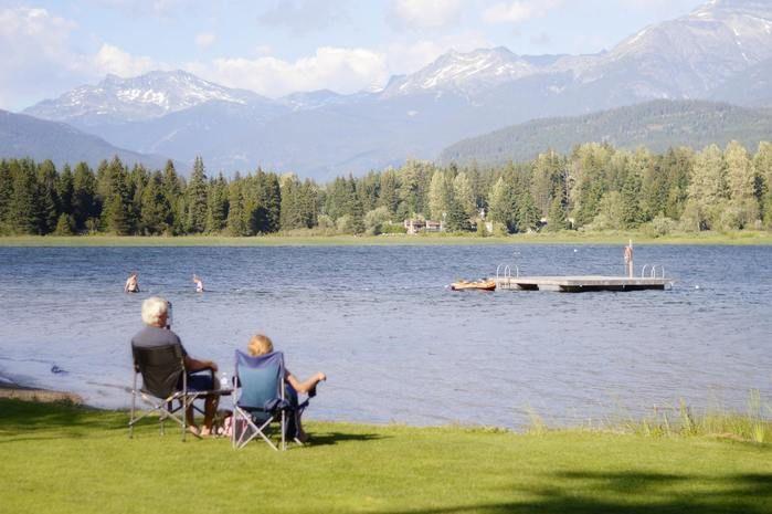 湖の端でリラックスチェアに座っている老夫婦