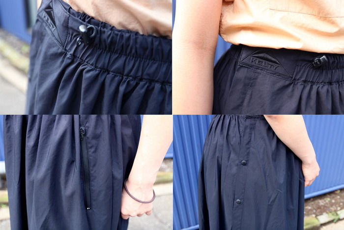 レインウェアスカートの細部の写真