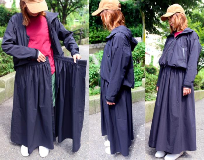 レインウェアのジャケットとスカートを合わせたコーデをしている女性の写真