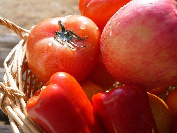 カゴに入ったトマトとピーマン