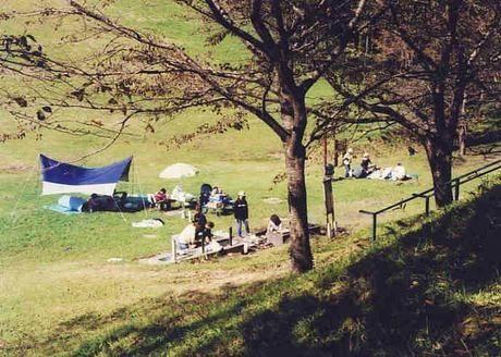 加護坊山キャンプ場でのキャンプの様子