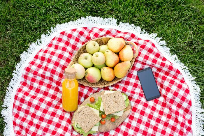 テーブルクロスの上に置いてある食べ物の写真