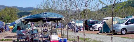 ウォーターパーク長瀞でのキャンプの様子