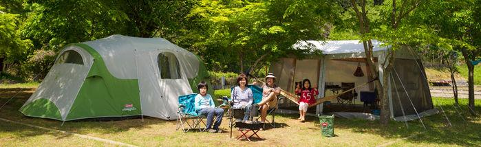 新田ふるさと村のオートフリーサイトでのキャンプの様子