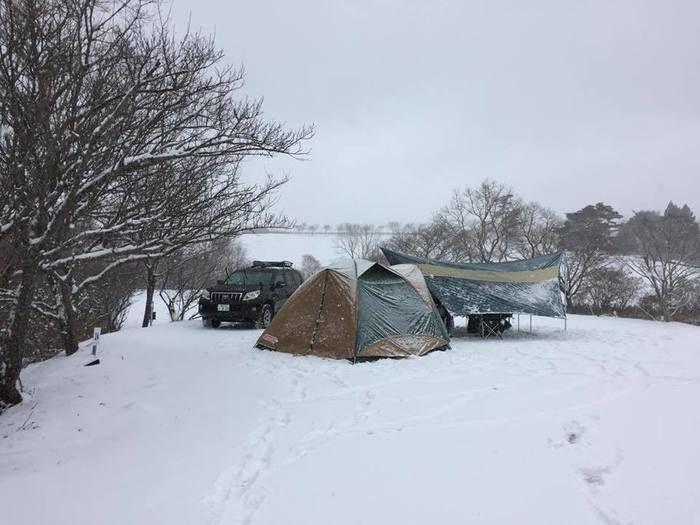 三河高原キャンプ村での冬キャンプの様子