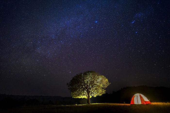 満点の星空の下に貼ってあるテントの写真